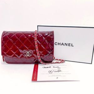 Authentic Chanel Garnet Brilliant Wallet On Chain